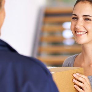 women recieving package